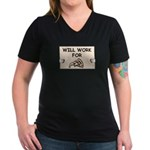 WILL WORK FOR PIZZA Women's V-Neck Dark T-Shirt