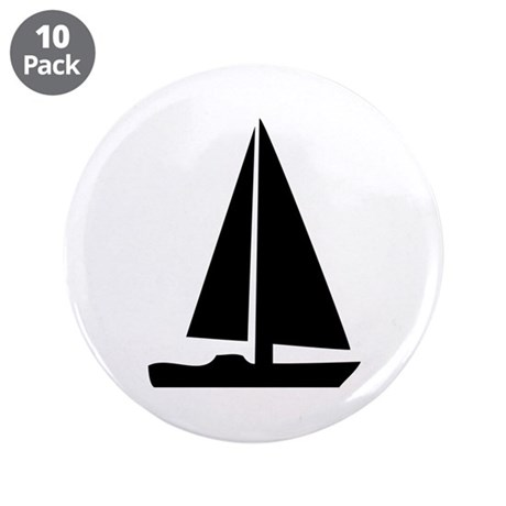 "sail boat 3.5"" Button (10 pack)"