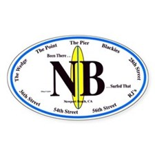 Newport Beach Surf Breaks Oval Decal