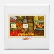 Painted Italian Fruit Stand Tile Coaster