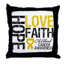 Childhood Cancer Faith Throw Pillow