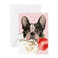 French Bulldog Rose Greeting Card