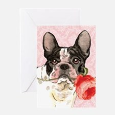 French Bulldog Rose Greeting Card