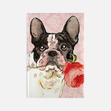French Bulldog Rose Rectangle Magnet