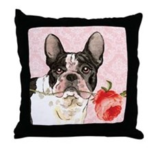 French Bulldog Rose Throw Pillow
