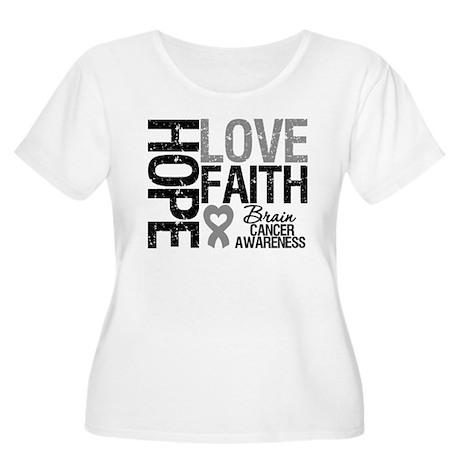Brain Cancer Faith Women's Plus Size Scoop Neck T-