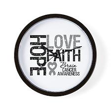 Brain Cancer Faith Wall Clock