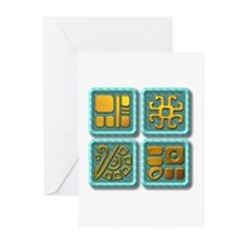 Mayan Glyph-turquoise & gold Greeting Cards (P