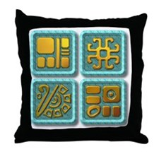 Mayan Glyph-turquoise & gold Throw Pillow