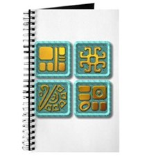 Mayan Glyph-turquoise & gold Journal