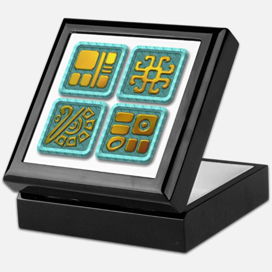 Mayan Glyph-turquoise & gold Keepsake Box