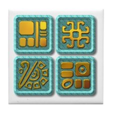 Mayan Glyph-turquoise & gold Tile Coaster