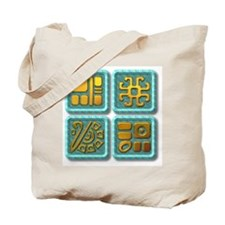 Mayan Glyph-turquoise & gold Tote Bag