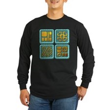 Mayan Glyph-turquoise & gold T