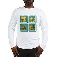 Mayan Glyph-turquoise & gold Long Sleeve T-Shirt