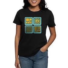Mayan Glyph-turquoise & gold Tee