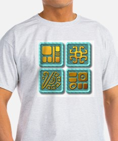 Mayan Glyph-turquoise & gold T-Shirt