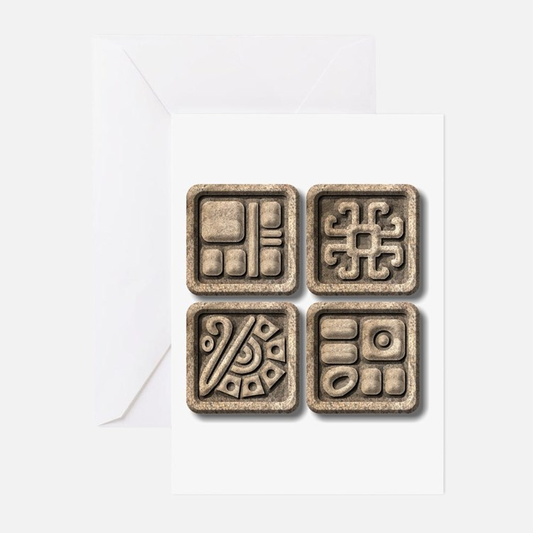 Mayan Glyphs-stone Greeting Cards (Pk of 10)