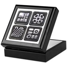 Mayan Glyphs-black & silver Keepsake Box