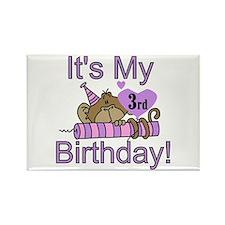 Girl Monkey 3rd Birthday Rectangle Magnet