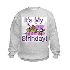 Girl Monkey 4th Birthday Sweatshirt