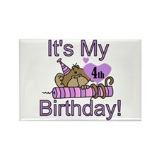 Girl Monkey 4th Birthday Rectangle Magnet