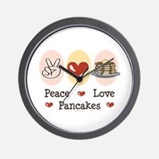 Peace Love Pancakes Wall Clock