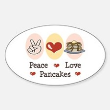 Peace Love Pancakes Oval Decal