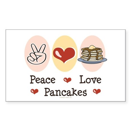 Peace Love Pancakes Rectangle Sticker