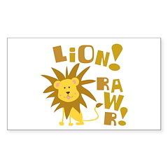 Lion Rawr Rectangle Sticker 50 pk)