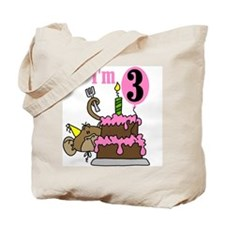 Monkey with Cake 3rd Birthday Tote Bag