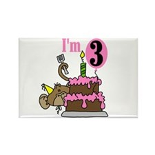 Monkey with Cake 3rd Birthday Rectangle Magnet