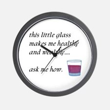 Glass Healthy Wealthy Wall Clock