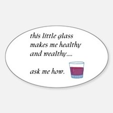 Glass Healthy Wealthy Oval Decal