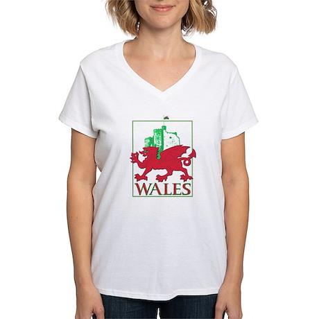 Dragon and Castle Women's V-Neck T-Shirt