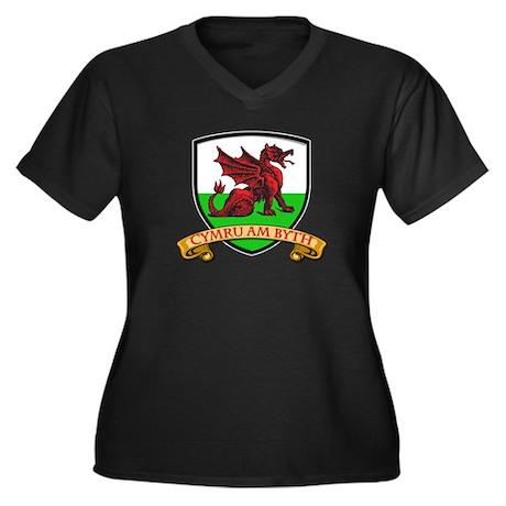 Red Dragon Shield Women's Plus Size V-Neck Dark T-