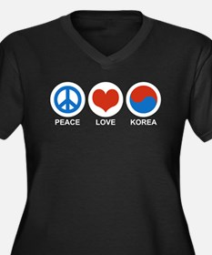 Peace Love Korea Women's Plus Size V-Neck Dark T-S