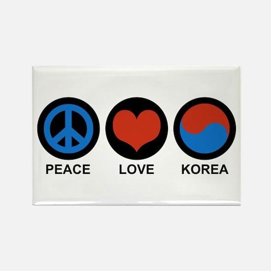 Peace Love Korea Rectangle Magnet