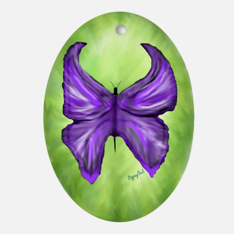 Royal Purple Butterfly Pendant /  Oval Ornament