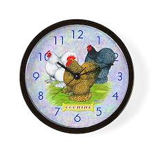 Assorted Cochin Chickens Wall Clock