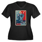 God-King Women's Plus Size V-Neck Dark T-Shirt