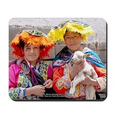 Young Peruvian Women with Lamb - Mouse Pad