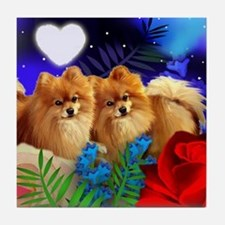 POMERANIAN DOGS LOVE HEART Tile Coaster