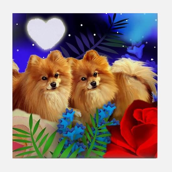 POMERANIAN DOGS LOVE HEART Tile Coaster