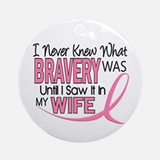 Bravery (Wife) Breast Cancer Support Ornament (Rou