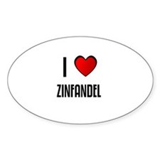 I LOVE ZINFANDEL Oval Decal
