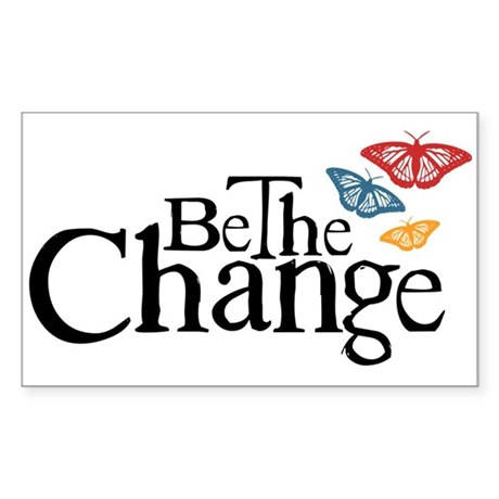 Gandhi - Change - Butterfly Rectangle Sticker