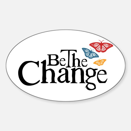 Gandhi - Change - Butterfly Oval Decal