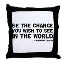 Quote - Gandhi - Change Throw Pillow