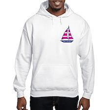 Pink Stripes Sailboat , Hoodie